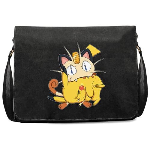 Okiwoki Sac bandoulière parodie Pokémon - Pikachu et Miaouss - Le jeu du Chat et la Souris :(Sac bandoulière de qualité supérieure - imprimé en France)