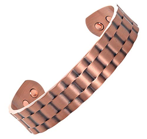 Copper Magnetic Bracelet – Best Natural Pain Relief Therapy by MnB Magnetic Bracelets (Large)