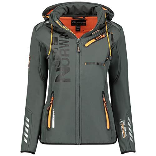 GEO NORWAY REINE LADY - Wasserdichte Softshell-Jacke für Damen - Warme Kapuzenjacke für draußen - Funktionsjacke Windbreaker-Zip-Jacke - Outdoor-Aktivitäten Wanderngrau/orange - M