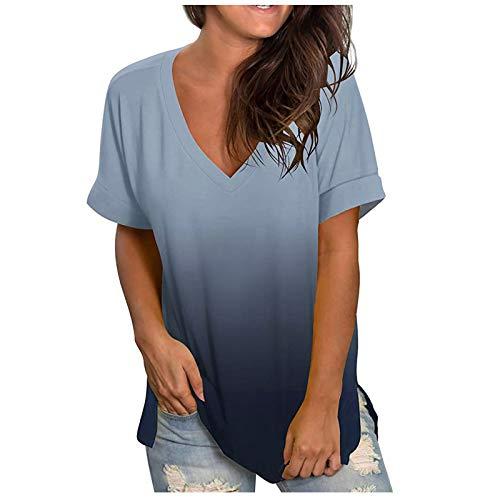 Camiseta feminina casual gola V degradê manga curta solta verão Plus Size, Cinza, XG