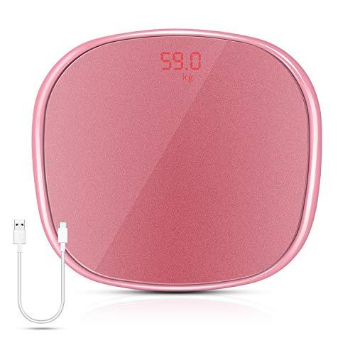 Báscula digital de baño Uong, báscula de peso corporal de alta precisión con tecnología de paso a paso, diseño de esquinas redondeadas, con cinta métrica, diseño ultrafino, 180 kg