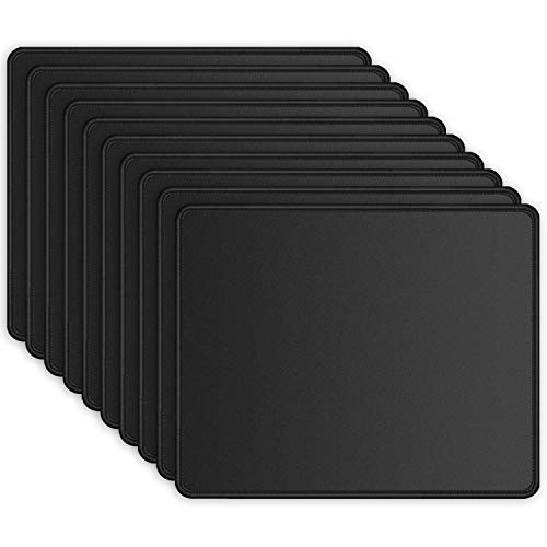 ITNRSIIET [10 Pack] Mouse Pad with Stitched Edge Premium-Textured Square Mouse Mat Washable Mousepads with Lycra Cloth Non-Slip Rubber Base Mousepad for Laptop Computer PC 10.2×8.3×0.12 inches Black