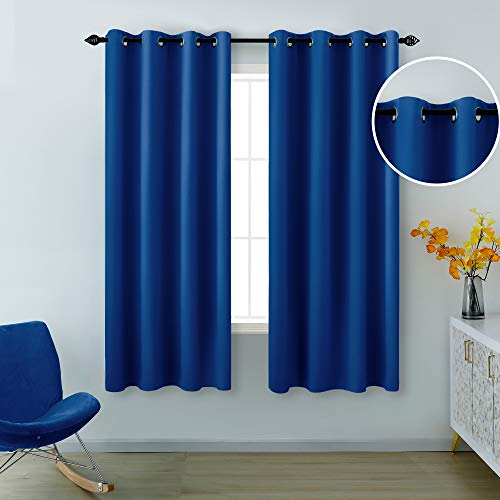 Blue Curtains 63 Inch Length for Boys Room Set 2 Panels Grommet Window Drapes Sun Light Blocking Insulated Thermal Room Darkening Blackout Curtains for Kids Bedroom Royal Dark Bright Blue 52x63 Long