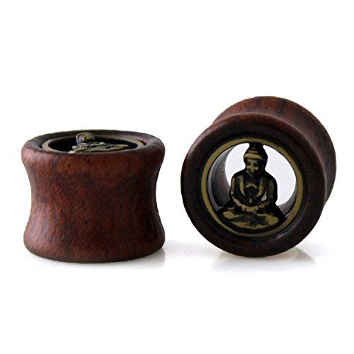 9/16' (14mm) Organic Wood Buddha Hollow Expander Ear Plugs
