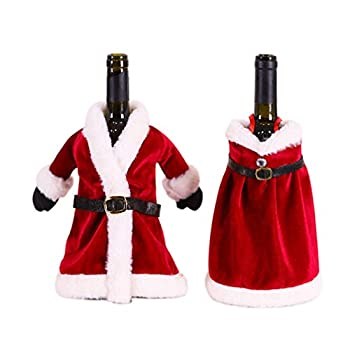 Amosfun 2pcs Christmas Wine Bottle Covers Decoration Knitted Sweater Santa Claus Wine Bottle Decorations Christmas Party Favors Supplies Gifts
