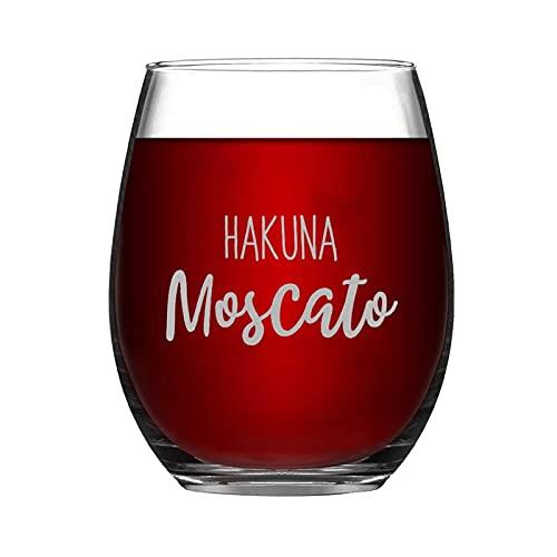 Hakuna Moscato - Copa de vino sin tallo, grabado con láser, para whisky, idea única para el día del padre, 15 onzas