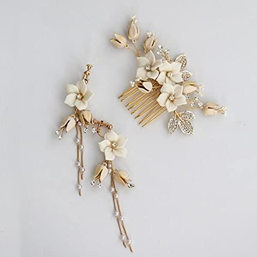 Novia Peine para cabello flores accesorios pelo,Perlas de la boda de la boda joyería de oro de la porcelana de la porcelana de oro Rhinestones nupciales Peine de cabello Pendientes A Pendientes Hecho