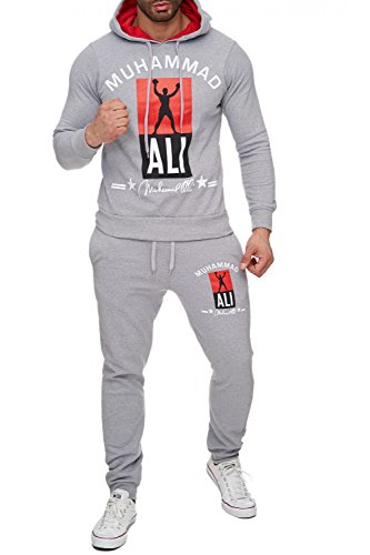 Herren Trainingsanzug Zweiteiler Boxing Jogginganzug Muhammad Ali, Farben:Hellgrau, Größe Pullover:M