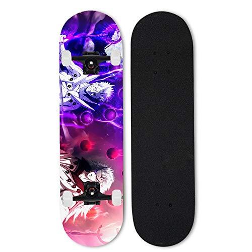 Totots Skateboard Uchiha Obito, Anime Double Tilt Skateboard Completo Patinaje Uchiha Madara, Skateboard de 7 Capas de 7 Capas Naruto, Concave Cruiser Stunt Skate