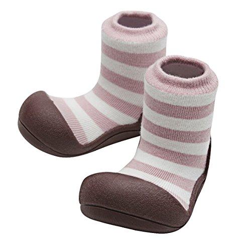 Attipas Natural Herb Pink - ergonomische Baby Lauflernschuhe, atmungsaktive Kinder Hausschuhe ABS Socken Babyschuhe Antirutsch 20