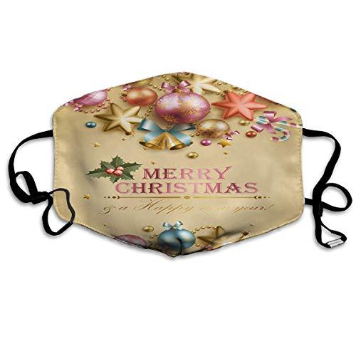 Foulard Buon Natale Palla di Natale dorata Anelli antipolvere Anelli per la bocca riutilizzabili lavabili con protezione facciale