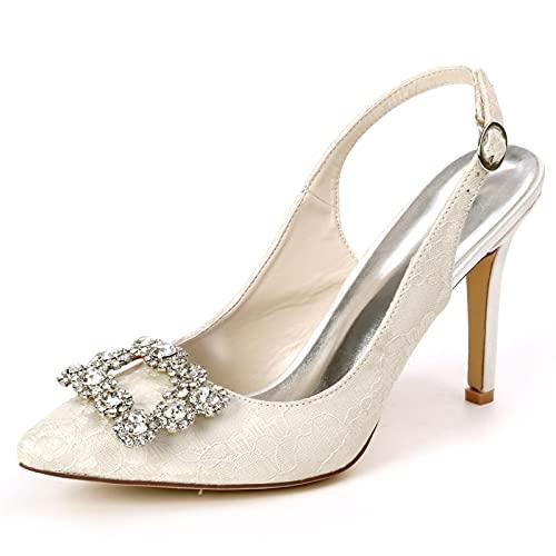 Puntilla Zapatos De Novia Mujer Diamante de imitación Slingback Tacón Alto Puntiagudo...