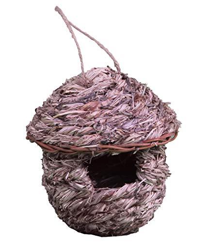 Dehner Natura Wildvogel-Nestbeutel Freya, Ø 16 cm, Höhe 18 cm, 45 mm Flugloch, Fingerhirse, beige/rosé