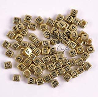 200pc 6mm Gold Metallic Alphabet Beads with Black Letters Crafting Key Chain Bracelet Necklace Jewelry Accessories Pendants