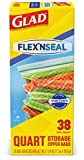 Glad FLEXN Seal Food Storage Plastic Bags - Quart - 38 Count, Pack of 4 (152 Total Bags) (Package May Vary)