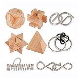 Hktec 8 piezas Intellectual Lock IQ juguetes con caja de regalo de madera, puzzles de metal, para pensar y aliviar el estrés, Montessori Intellectual, desarrollo educativo para niños y adultos