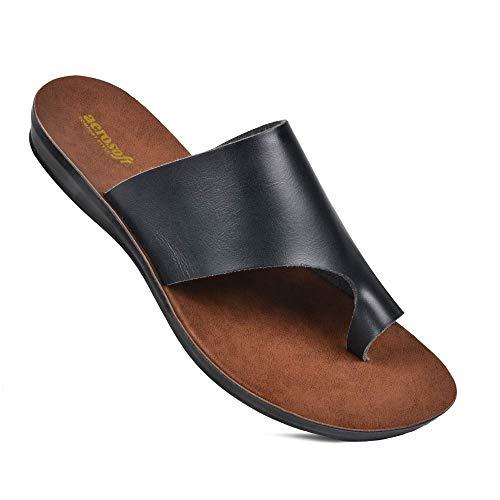 Aerosoft Daffodil Women's Summer Essentials Flat Slide Sandals (US 10, Daffodil Black)