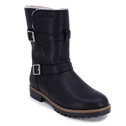 Nautica Womens Winter Boots - Ladies Lined Mid Calf Snow Riding Low Shaft Shoes-Anthea-Black-7.5