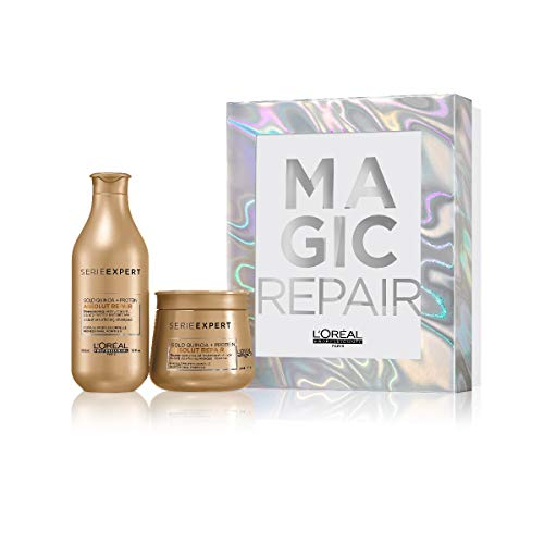 L'Oréal Professionnel - Coffret Beauté série limitée Magic Absolut Repair - 1 Shampooing restructurant transformation instantanée & 1 Baume restructurant Quinoa Gold 250ml