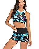 De Cintura Alta del Bikini Conjunto con Push Pantalones Cortos Traje De Baño Deporte De Las Mujeres del Traje De Baño Swim Up Traje De Baño Más del Tamaño,Azul,M