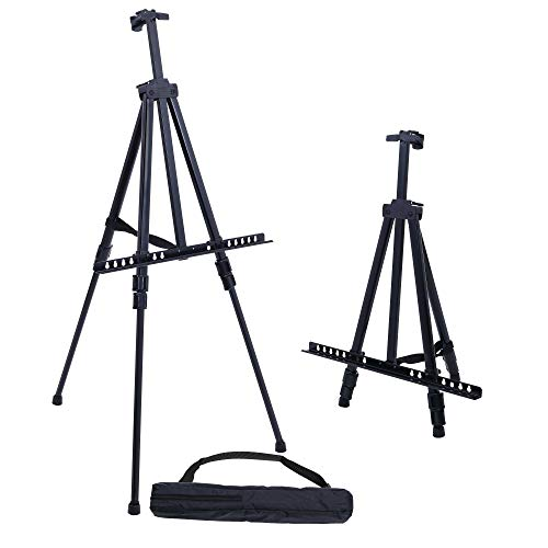 U.S. Art Supply 66 Inch Sturdy Black Aluminum Tripod Artist Field and Display Easel Stand - Adjustable Height 20' to 5.5 Feet, Holds 32' Canvas - Floor and Tabletop Displaying, Painting - Portable Bag