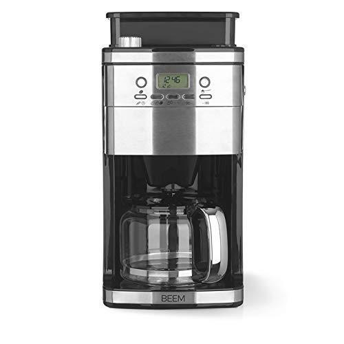 BEEM Freesh-Aroma-Perfect Superior | Filterkaffeemaschine mit Mahlwerk und intelligenter Wasserzufuhr| 1,5 l Glaskanne, 24 h Timer, Warmhalteplatte [Edelstahl, 1050 Watt]