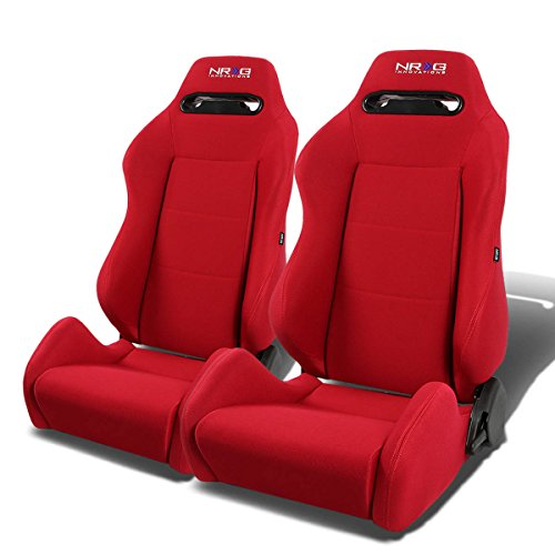NRG RSC-200-NRG Type-R Universal Racing Seats With Red Stich & NRG Logo Set of 2 (Red)