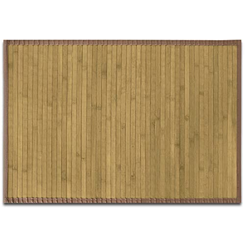 casa pura Tapis de Bain Bambou Naturel hypoallergénique | antidérapant | Rebord Marron Clair, 90x120cm