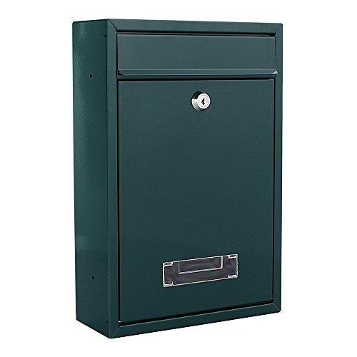 Rottner cassetta postale Tarvis Verde, in acciaio, con design moderno e compatto, targhetta portanome integrata nella finestra di visualizzazione, serratura a cilindro di colore verde.