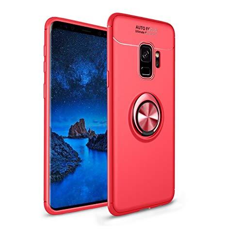 Funda compatible con Samsung Galaxy J2 Core, ligera, suave, de silicona TPU, con anillo de soporte, magnético, soporte para teléfono móvil, antigolpes. rojo Talla única