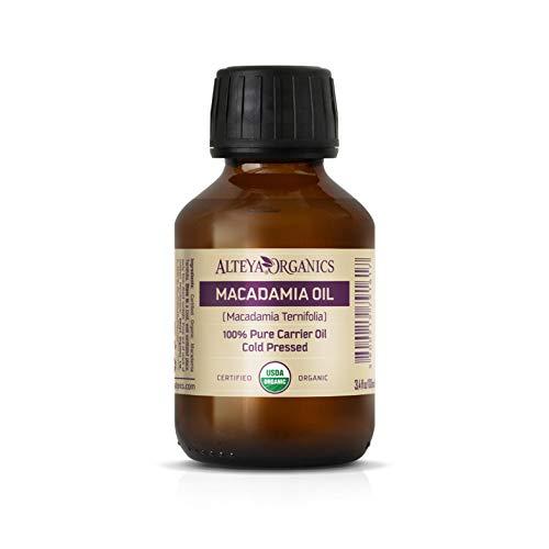 Alteya Bio- Macadamiaöl 100 ml - 100% USDA Organic-zertifiziertes Natürliches Kaltgepresstes Macadamia-Trägeröl – Nährstoff- und Feuchtigkeitsspendende Premium-Hautpflege in therapeutischer Qualität