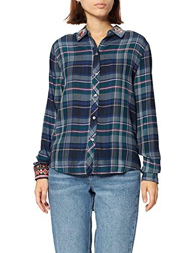 Desigual CAM_Susan Sontag Camisa, Azul, XL para Mujer