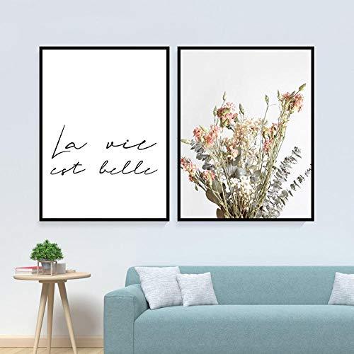 BGMBB La Vita è Bella Citazioni Famose francesi Poster su Tela Fiore Wall Art Pittura Decorazione Domestica Pittura su Tela 40x60cmx2 (Senza Cornice)