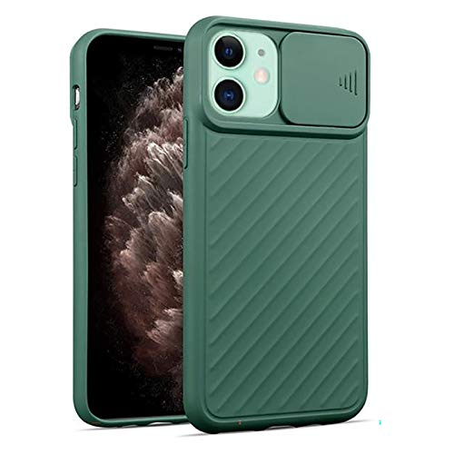 DMWMD Funda para iPhone 12/12 Pro / 12 Mini / 12 Pro MAX Protección Adicional Antiarañazos Delgado Protector de cámara Suave al Tacto Cubierta Deslizante (Color : Green, Size : For iPhone 12 Mini)