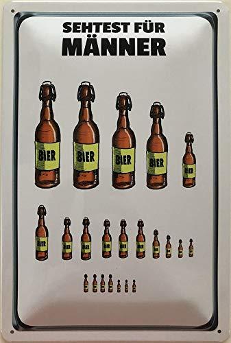 Deko 7 Blechschild 30 x 20 cm - Sehtest für Männer - Bierflaschen
