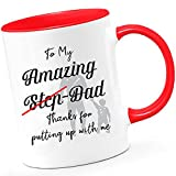 Taza con texto en inglés 'Step Dad to My Amazing Step Dad Thank for Putting Up...