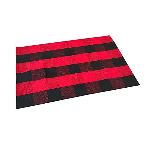kexinda Tejido a Mano de algodón a Cuadros Manta de área de Anti Slip Felpudo Alfombra de Piso en Capas de alfombras para el lavadero de Cocina, Alfombra de algodón Negro Rojo, 70x45cm