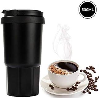 Vaso Termico Café Termo Taza Termica Viaje Botella Acero Inoxidable Agua Para Llevar Sin Bpa Caño Seguro 12 STD Mantener Caliente & 8 STD Refrigeración (Negro 500 ml)