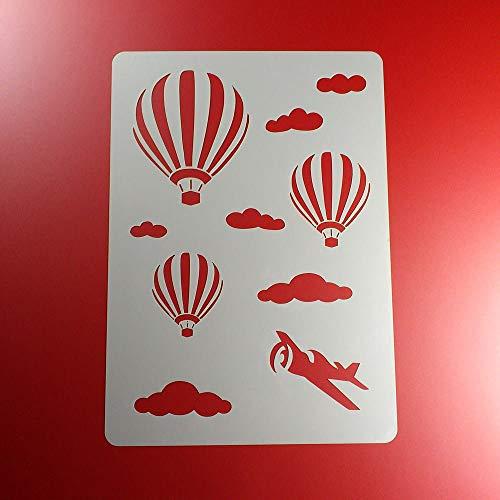 Schablone Heißluftballon Wolken Flugzeug - BA05
