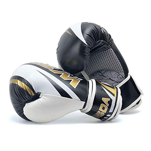 WOLIGEQ Boxhandschuhe Männer Boxhandschuhe Frauen Skorpion Muster Muay Thai Handschuhe Kickbox SandaTrainingshandschuhe 6oz / 10oz / 12oz, Weiß