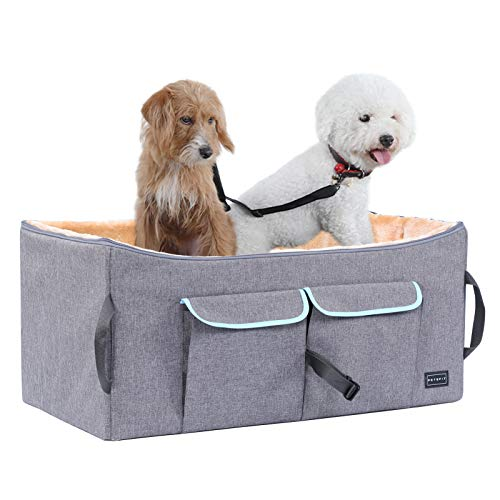 """Petsfit Dog Car Seat for Medium Dog up to 45 Pounds Large Dog Car Seat,with Big Pockets and ONE Inside Leash (Gray) 29.5"""" Lx16 Wx14 H Large"""