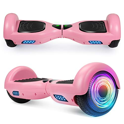 SISIGAD Two-Wheels Hoverboard for Kids, 6.5 inches Self Balancing Hoverboards, Self Balancing Electric Scooter Without Bluetooth-Pink