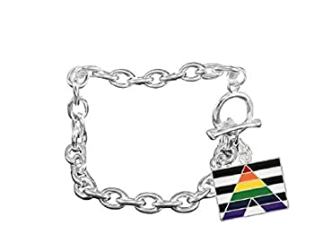 Fundraising For A Cause   Straight Ally Chunky Link Bracelet – Straight Ally Rectangle Shaped Charm Bracelet for LGBTQ Awareness Support Pride Parades and More!  1 Bracelet