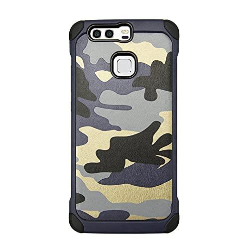 Adecuado para Huawei mate9 funda de teléfono móvil P9 plus cubierta protectora camuflaje anti-gota lite todo incluido TPU-Navy_mate9