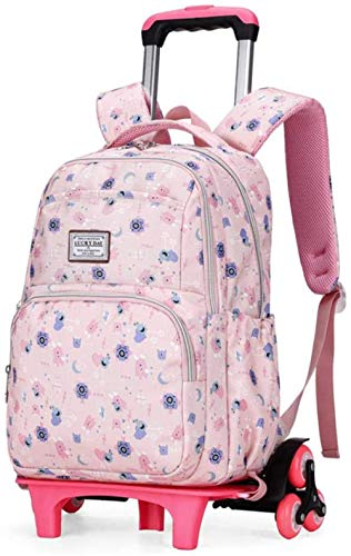 B/H Lovely Girls Waterproof Nylon School Backpack,Trolley school bag for primary school students, large-capacity waterproof hand drag for students-Light Pink Six Round,Wheeled School Backpack