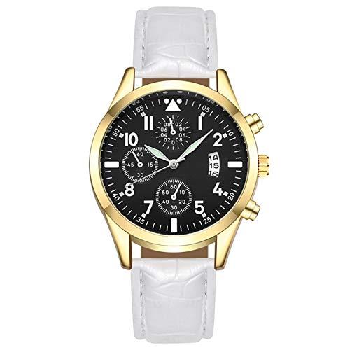 Summerone Relojes para Hombre Moda de Lujo Reloj de Cuarzo de Moda para Hombres para Hombres Reloj de Cuero Casual con Calendario (Color : White)