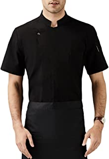 Sentao Professional Chef Jacket, Chef Overalls, Short Sleeve, Men Women, Stainless Steel Buttons, Stand-up Collar, White &...