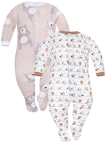 Sibinulo Nino Nina Pijama Bebé Pelele de Algodón Pack de 2 Prado Beige Osos de Peluche Beige 62(0-3 Meses)