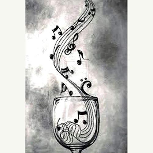 Yingxin34 Rompecabezas para Adultos 1000 Piezas Notas Musicales en una Copa de Vino Rompecabezas Rompecabezas para Adultos Fun Fact 26x38cm
