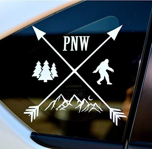 Byzee PNW Bigfoot Decal - White Mountain/Tree Sticker - Car/Laptop Graphic